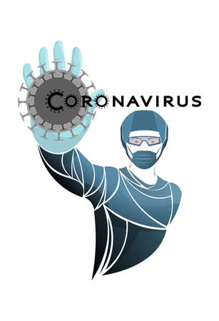Doctor, scientist, virologist. Bacteria, coronavirus, microbe vector. Coronaviruses cause diseases in mammals, humans. Deadly type of virus 2019-nCoV. Novel Coronavirus 2019. Pneumonia disease.