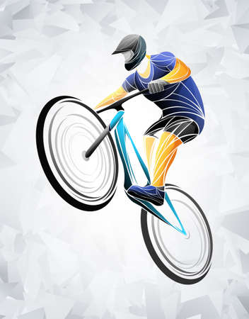 Cycling tour, track, bicycle, geometric, cyclist stylized vector. A Young man is cycling a bicycle. Sports activity. Illustration