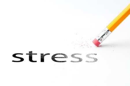 oxidative: Closeup of pencil eraser and black stress text. Stress. Pencil with eraser. Stock Photo