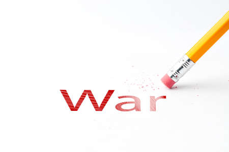 eradicate: Closeup of pencil eraser and black War text. Pencil with eraser. Yellow pencil. Stock Photo
