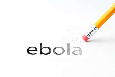 oxidative: Closeup of pencil eraser and black ebola text. Ebola. Pencil with eraser.