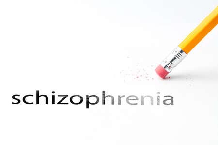oxidative: Closeup of pencil eraser and black schizophrenia text. Schizophrenia. Pencil with eraser.