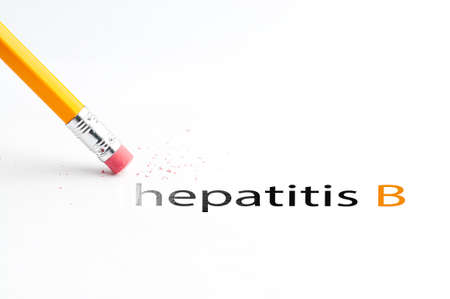 incontinence: Closeup of pencil eraser and black hepatitis b text. Hepatitis b. Pencil with eraser.