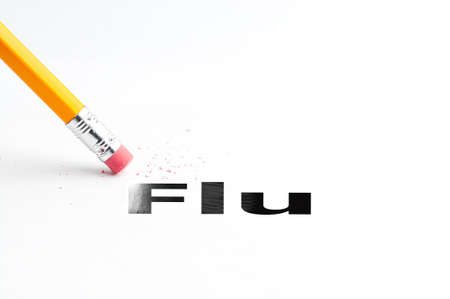 swine flue: Closeup of pencil eraser and black flu text. Flu. Pencil with eraser.