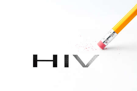 Closeup of pencil eraser and black HIV text. HIV. Pencil with eraser.