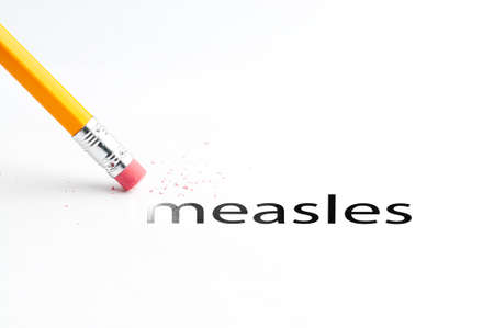 measles: Closeup of pencil eraser and black measles text. Measles. Pencil with eraser.