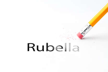 incontinence: Closeup of pencil eraser and black rubella text. Rubella. Pencil with eraser.