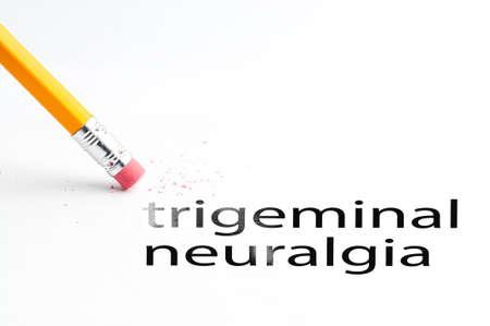 neuralgia: Closeup of pencil eraser and black trigeminal neuralgia text. Trigeminal neuralgia. Pencil with eraser.
