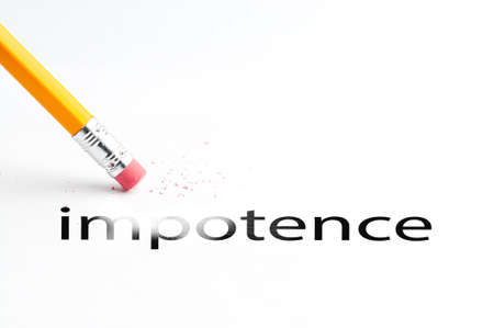 impotence: Closeup of pencil eraser and black impotence text. Impotence. Pencil with eraser.