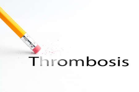 embolism: Closeup of pencil eraser and black thrombosis text. Thrombosis. Pencil with eraser. Stock Photo