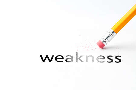 incontinence: Closeup of pencil eraser and black weakness text. Weakness. Pencil with eraser. Stock Photo