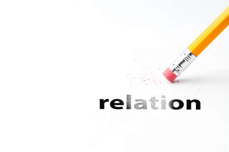 relation: Closeup of pencil eraser and black relation text. Relation. Pencil with eraser.