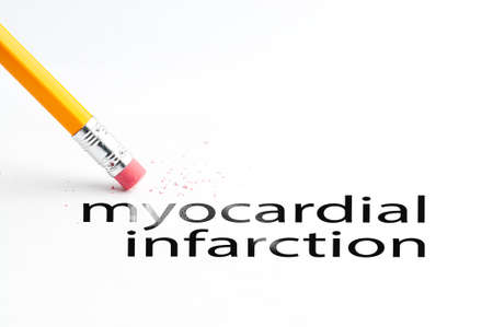 infarction: Closeup of pencil eraser and black myocardial infarction text. Myocardial infarction. Pencil with eraser.