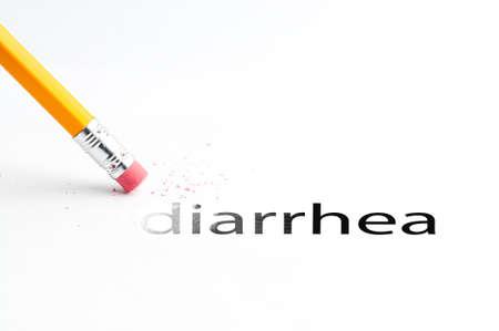 diarrea: Primer de la goma de borrar y el texto negro diarrea. Diarrea. L�piz con goma de borrar.