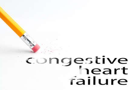 heart failure: Closeup of pencil eraser and black congestive heart failure text. Congestive heart failure. Pencil with eraser. Stock Photo