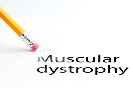 dystrophy: Closeup of pencil eraser and black muscular dystrophy text. Muscular dystrophy. Pencil with eraser.