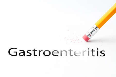 gastroenteritis: Closeup of pencil eraser and black gastroenteritis text. Gastroenteritis. Pencil with eraser.