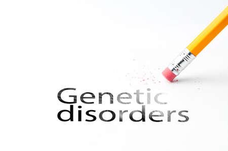 dystrophy: Closeup of pencil eraser and black genetic disorders text. Genetic disorders. Pencil with eraser.