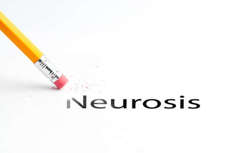 incontinence: Closeup of pencil eraser and black neurosis text. Neurosis. Pencil with eraser. Stock Photo