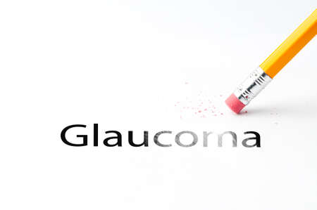 glaucoma: Closeup of pencil eraser and black glaucoma text. Glaucoma. Pencil with eraser.