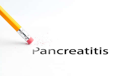 incontinence: Closeup of pencil eraser and black pancreatitis text. Pancreatitis. Pencil with eraser. Stock Photo
