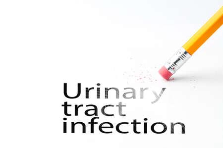 Nahaufnahme eines Radiergummi und schwarzer Harnwegsinfektion Text. Harnwegsinfekt. Bleistift mit Radiergummi. Standard-Bild - 46024656