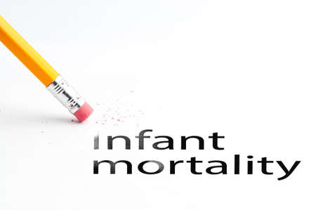 incontinence: Closeup of pencil eraser and black infant mortality text. Infant mortality. Pencil with eraser.