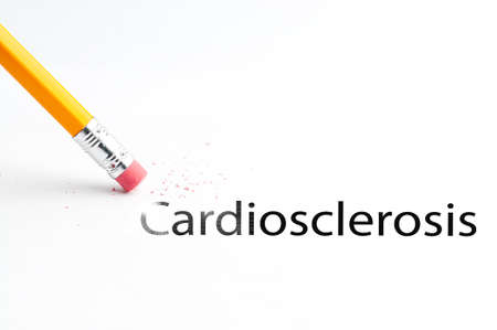 incontinence: Closeup of pencil eraser and black cardiosclerosis text. Cardiosclerosis. Pencil with eraser.