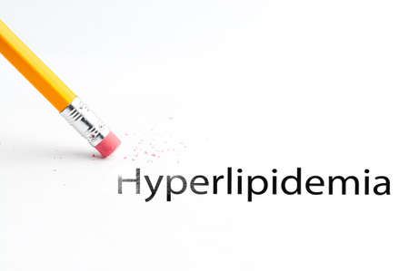 incontinence: Closeup of pencil eraser and black hyperlipidemia text. Hyperlipidemia. Pencil with eraser.