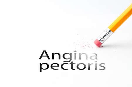 angina: Primer plano de goma de un lápiz negro y el texto angina de pecho. Angina de pecho. Lápiz con goma de borrar. Foto de archivo