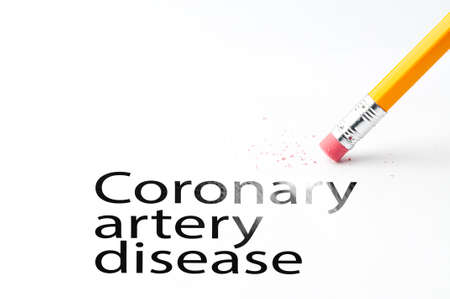 carotid: Closeup of pencil eraser and black coronary artery disease text. Coronary artery disease. Pencil with eraser.
