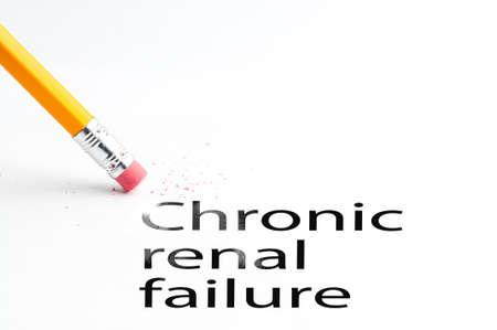renal: Closeup of pencil eraser and black chronic renal failure text. Chronic renal failure. Pencil with eraser.