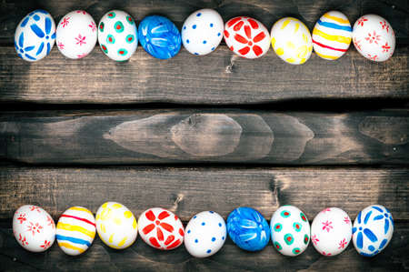 easteregg: Easter Egg. Easter eggs on old boards. Space for text. Easter ideas. Happy easter. Vintage processing.