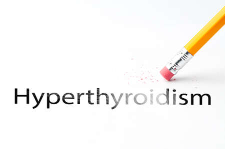 pituitary: Closeup of pencil eraser and black hyperthyroidism text. Hyperthyroidism. Pencil with eraser.