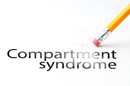 Closeup of pencil eraser and black compartment syndrome text. Compartment syndrome. Pencil with eraser.