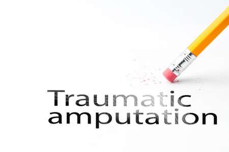 amputation: Closeup of pencil eraser and black traumatic amputation text. Traumatic amputation. Pencil with eraser. Stock Photo