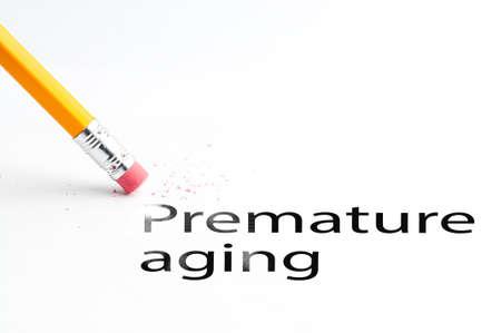 premature: Closeup of pencil eraser and black premature aging text. Premature aging. Pencil with eraser.