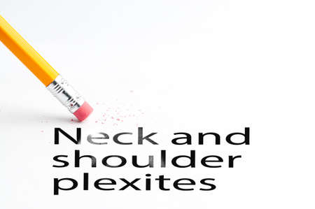 proffesional occupation: Closeup of pencil eraser and black Neck and shoulder plexites text. Neck and shoulder plexites. Pencil with eraser.