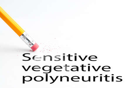proffesional occupation: Closeup of pencil eraser and black sensitive vegetative polyneuritis text. Sensitive vegetative polyneuritis. Pencil with eraser. Stock Photo