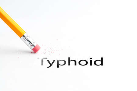 enteric: Closeup of pencil eraser and black typhoid text. Typhoid, paratyphoid diseases. Pencil with eraser.