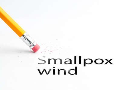 eradication: Closeup of pencil eraser and black smallpox wind text. Smallpox wind. Pencil with eraser.