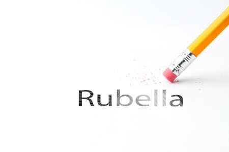 rubella: Closeup of pencil eraser and black rubella text. Rubella. Pencil with eraser.