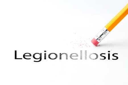 Closeup of pencil eraser and black legionellosis text. Legionellosis. Pencil with eraser.