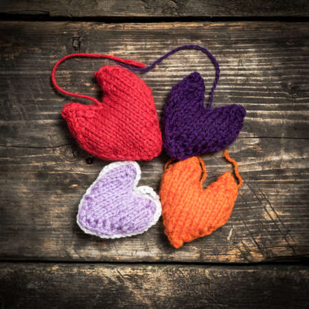 Valentines Day Colorful Knitted Hearts Red Heart On The Dark