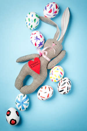 Easter bunny on a blue background