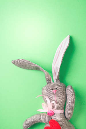 Easter bunny on a green background Stock Photo
