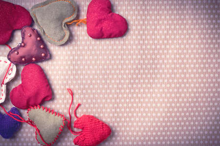 Colorful knitted hearts