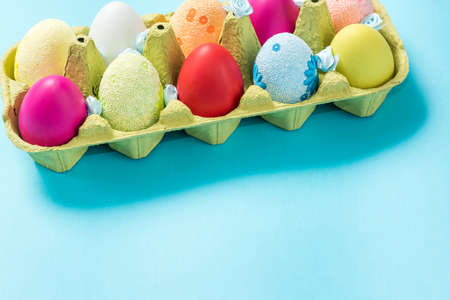Easter eggs are painted in bright colors