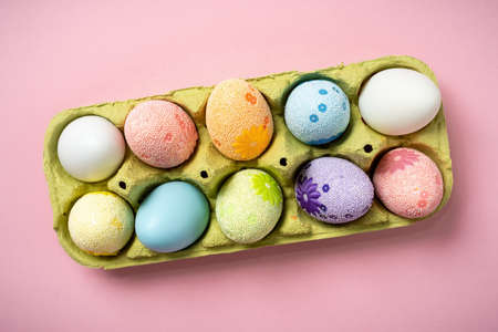 Easter eggs on a beautiful pink background