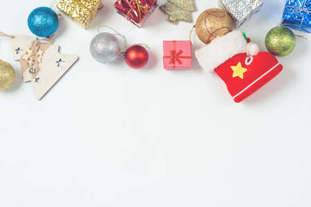 Beautiful Christmas decorations 2020 on a light background.